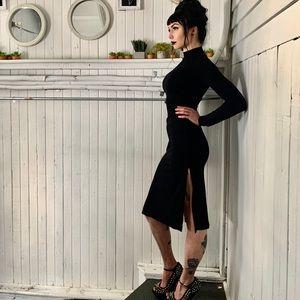 Black mock neck midi dress